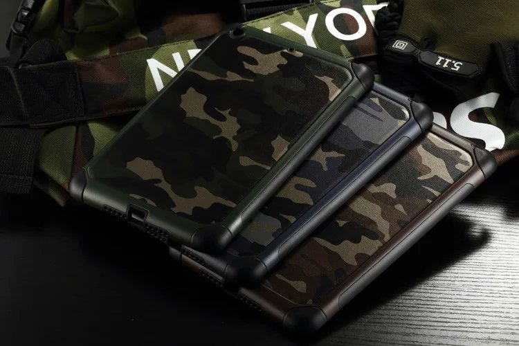 2 in 1 Army Camo Camouflage Pattern Back Cover mini123 Hard Plastic+Soft TPU Armor Protective Case For iPad mini 1234 Case+Gifts