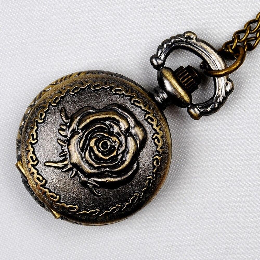 1PC, Vintage Watches Compass Bronze Quartz Necklace Pendant Chain Clock For Women Men Pocket Watches Classical Carving Fob Watch