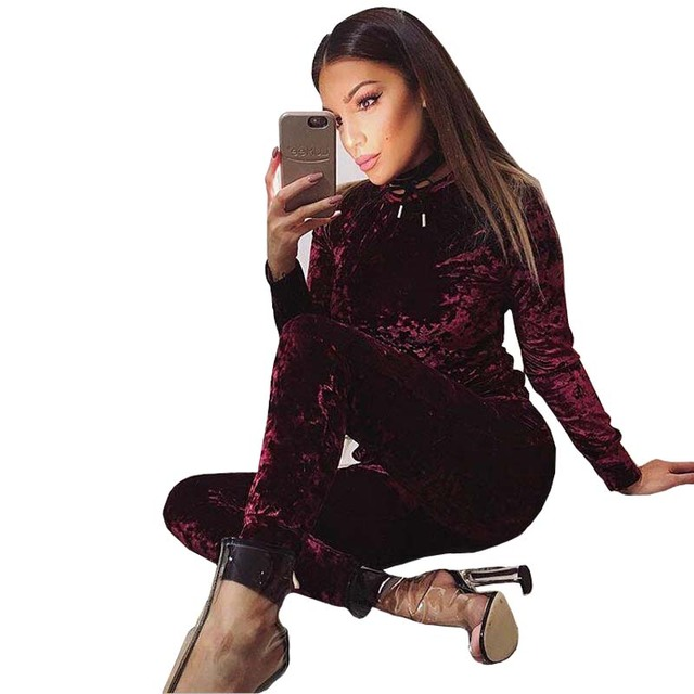 2017 Spring Ensemble Femme Fashion Velvet Tracksuit Casual Suit Two Piece Women's Sets Hoodies Shirt Tops+Leggings Pants W1335