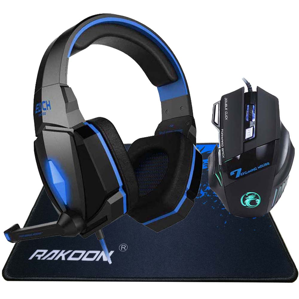 5500 DPI LED Pro Game Gaming Mouse+Stereo Deep Bass LED Light Pro Gaming Headphone Headset+Pro Gaming Mouse Pad Gift
