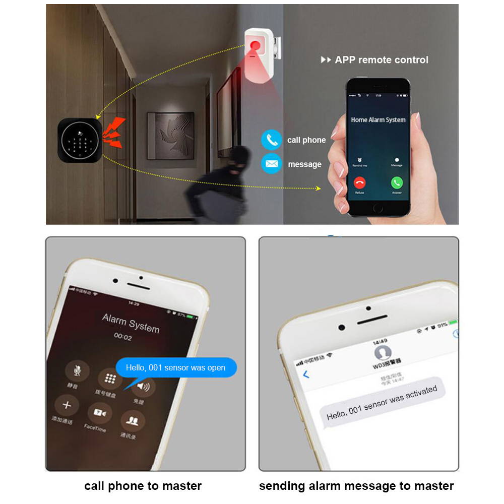 PS11 GSM Alarm SMS Card Android IOS APP Remote Control Security Burglar Russian French Alarm Auto Dialer Touch Keypad for Home in Alarm System Kits from Security Protection