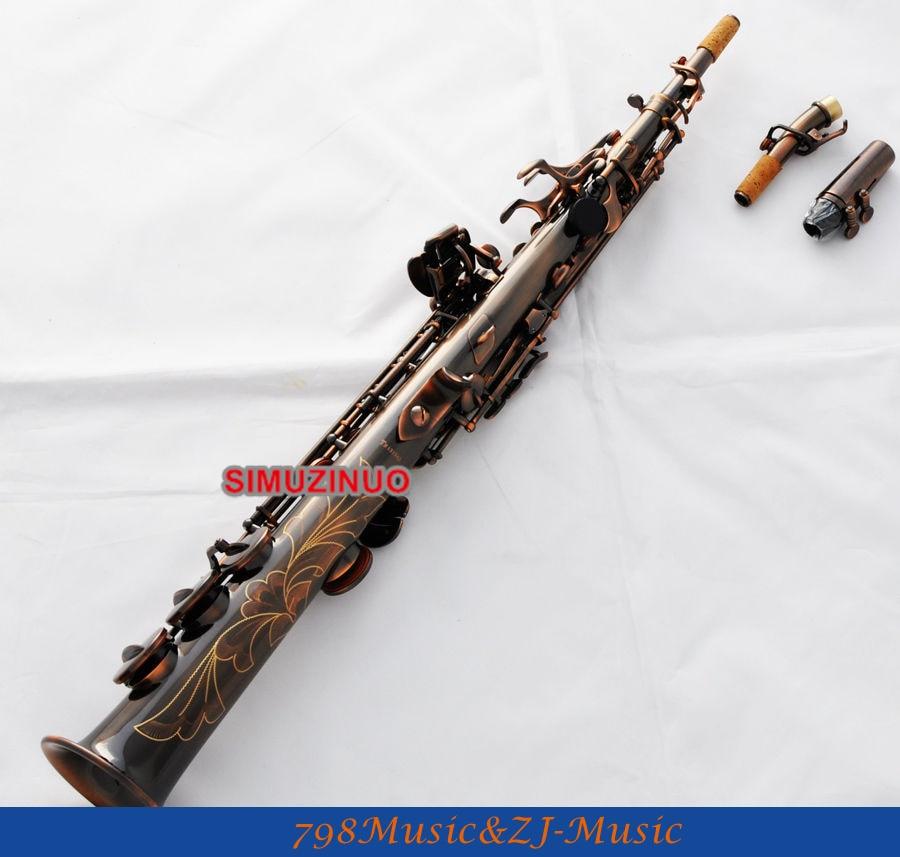 Professionnel Rouge Antique Saxophone Soprano Bb Haute F # Saxo 2 Cou nouveau Cas