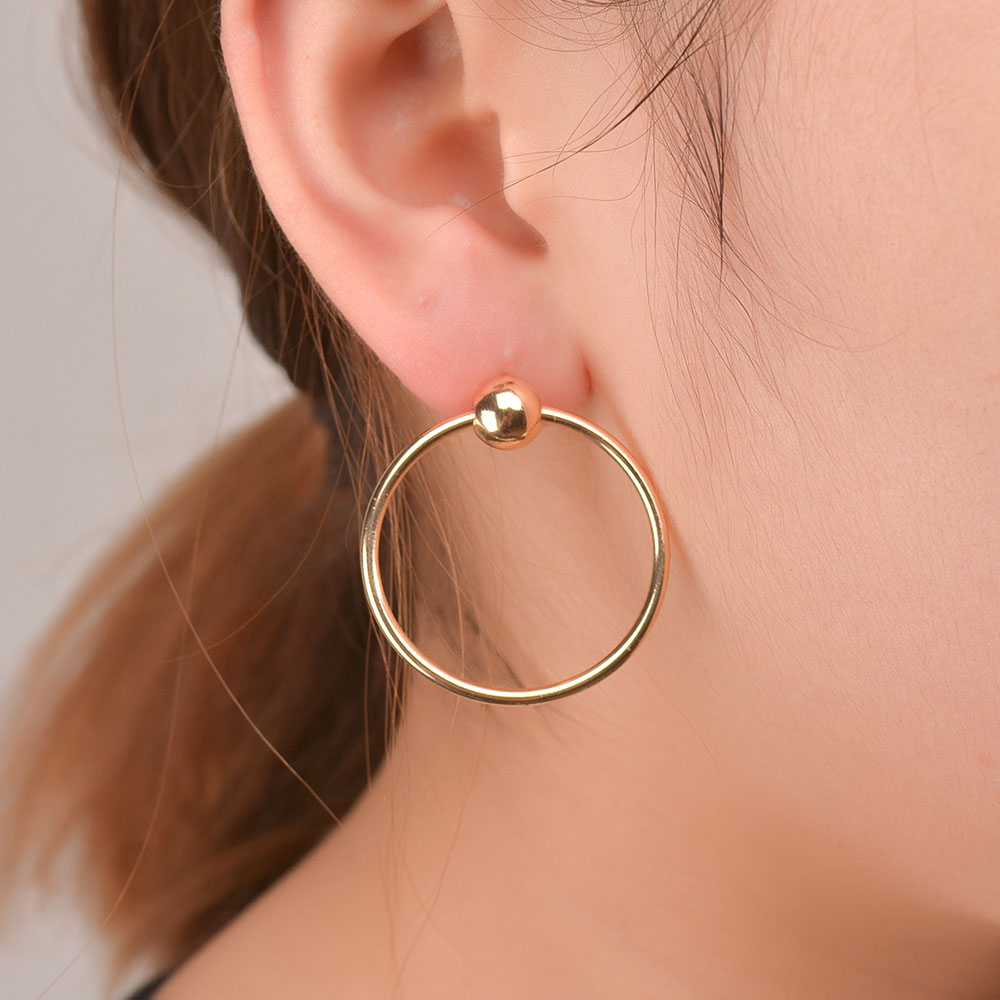 2016 Stylish Korean Simple Aros Hoop Earrings For Women Copper Circle Round  Stud Big Ear Hoops