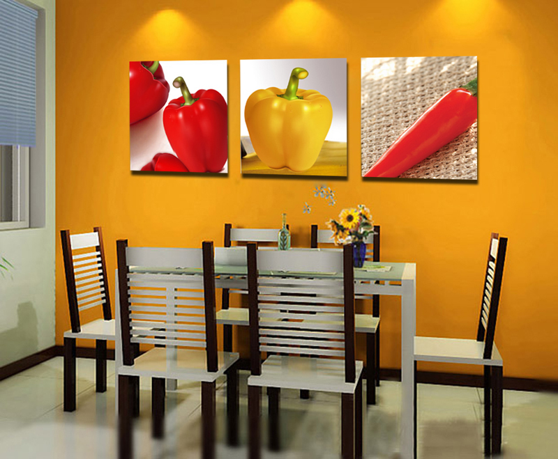 Free Shipping Colorful Vegetable Yellow Red Pepper Modern Still Life Print Painting For Kitchen Dinner Room Decor