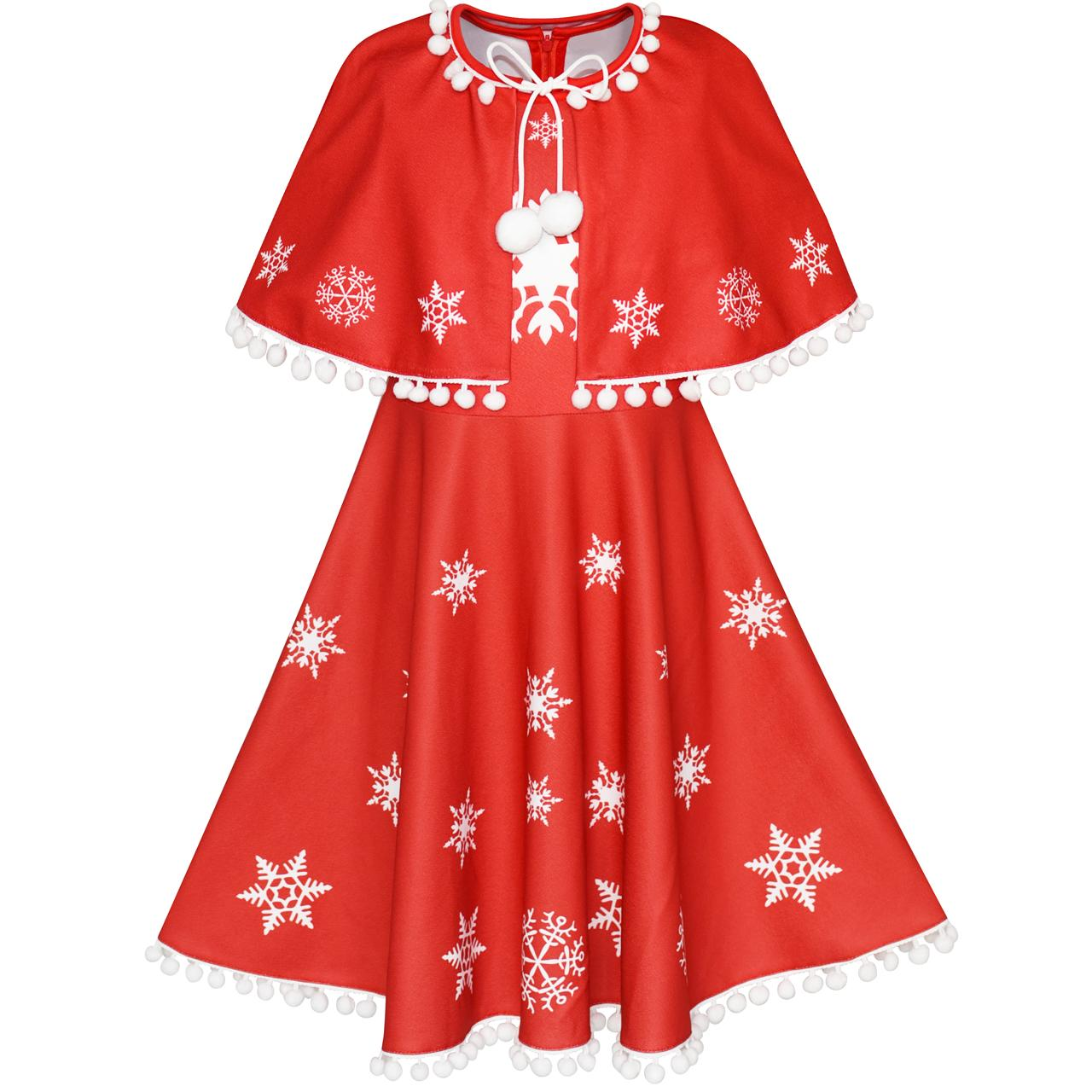 Sunny Fashion Flower Girl Dress Red Cape Cloak Christmas Year Holiday Party 2018 Summer Princess Wedding Dresses Size 4-14 sunny fashion girls dress princess worsted winter christmas hat lace red 2018 summer wedding party dresses clothes size 4 10