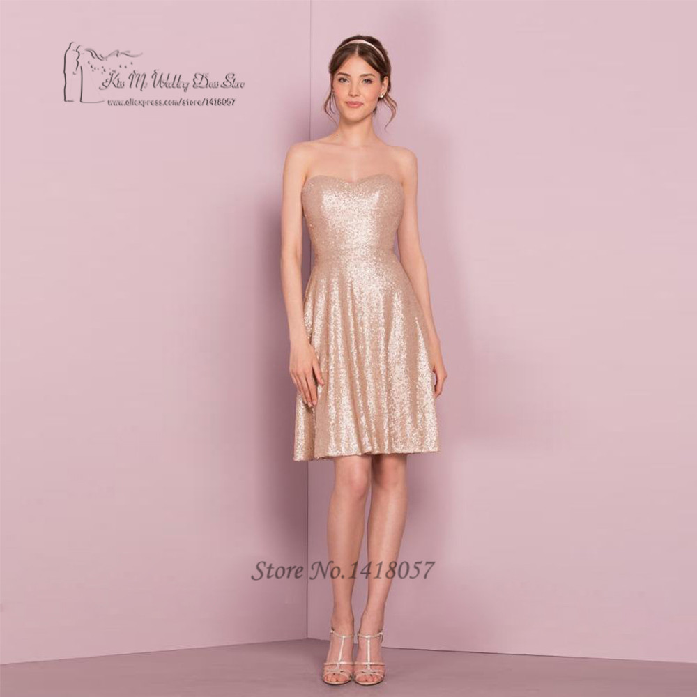 Champagne Sequin   Bridesmaid     Dresses   Short Cheap Wedding Party   Dress   Above Knee Zipper Vestido Madrinha Curto Brautjungfernkleid