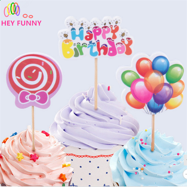 24pcsset Cake Toppers Happy Birthday Cake Decoration Card For