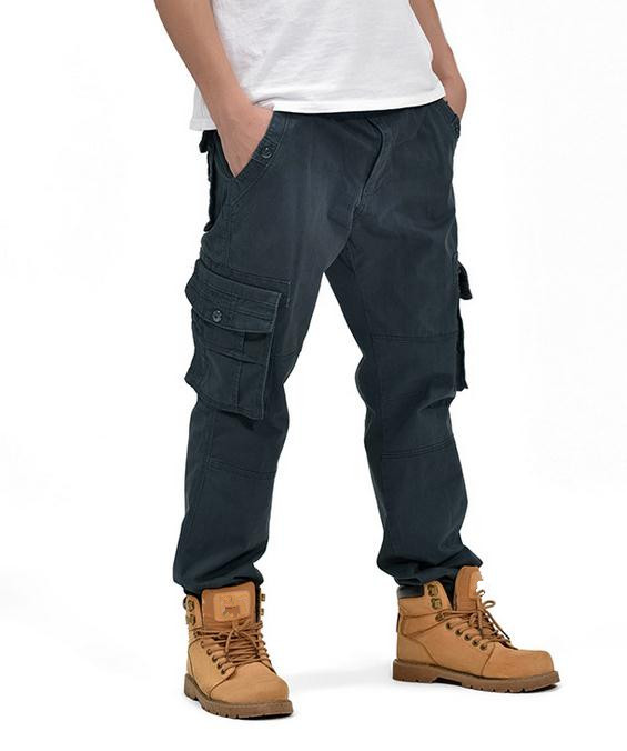 Fashion #1988 Cotton Men Cargo Pants Autumn Winter Straight large size overall Man Long Pants Trousers 34 36 38 Bottoms ...