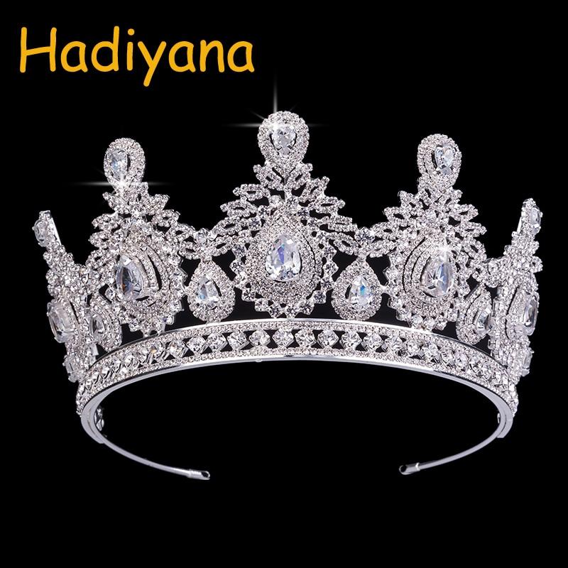 Hadiyana Bruiloft Accessoires Bruids Haar Tiara Waterdruppels Haar Crown Koper Rhinestone Sliver Plating Bruiloft Kronen BC3620-in Haarsieraden van Sieraden & accessoires op  Groep 1