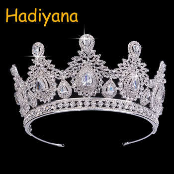 Hadiyana Wedding Accessories Bridal Hair Tiaras Water Droplets Hair Crown Copper Rhinestone Sliver Plating Wedding Crowns BC3620 - DISCOUNT ITEM  50% OFF All Category