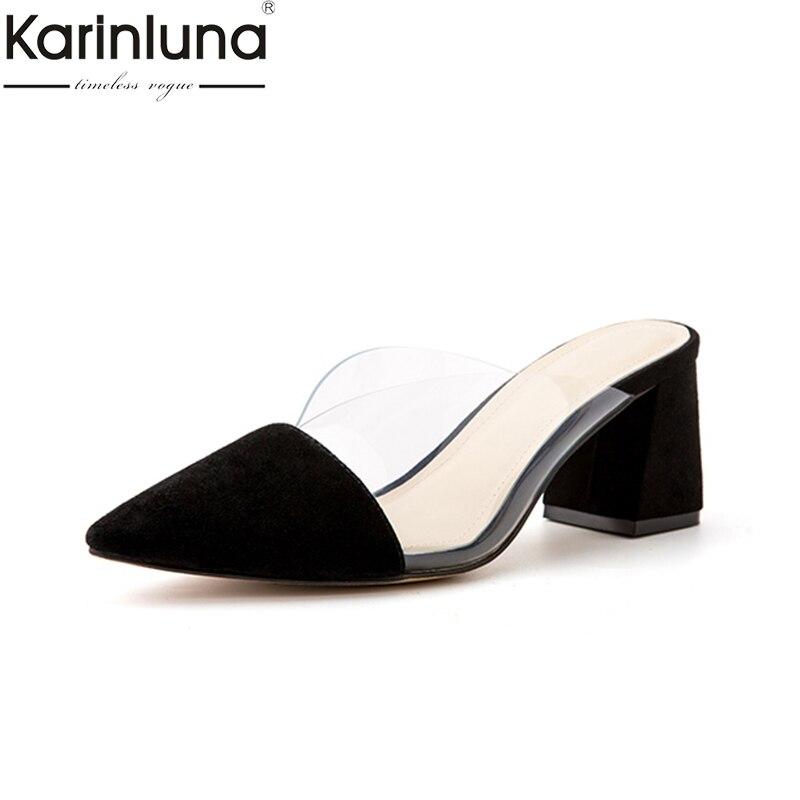 KarinLuna Pointed Toe Chunky Heels 2019 Brand New Genuine Leather women s Slippers Classics Fashion Elegant