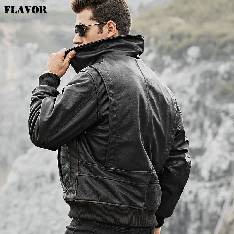 FLAVOR Men's Real Cow Leather Bomber Jacket Men Cowhide Genuine Leather Jacket Air Force Winter Warm Aviator Coat