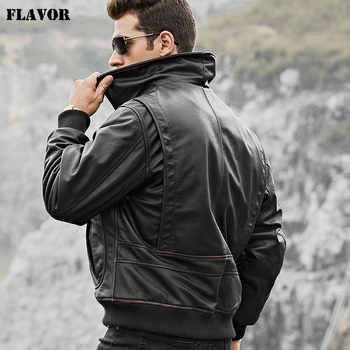 FLAVOR Men\'s Real Cow Leather Bomber Jacket Men Cowhide Genuine Leather Jacket Air Force Winter Warm Aviator Coat - DISCOUNT ITEM  45 OFF Men\'s Clothing