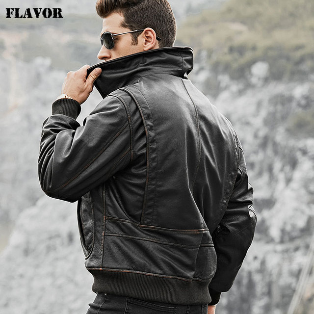 cd3c35ebe40 FLAVOR Men s Real Cow Leather Bomber Jacket Men Cowhide Genuine Leather  Jacket Air Force Winter Warm