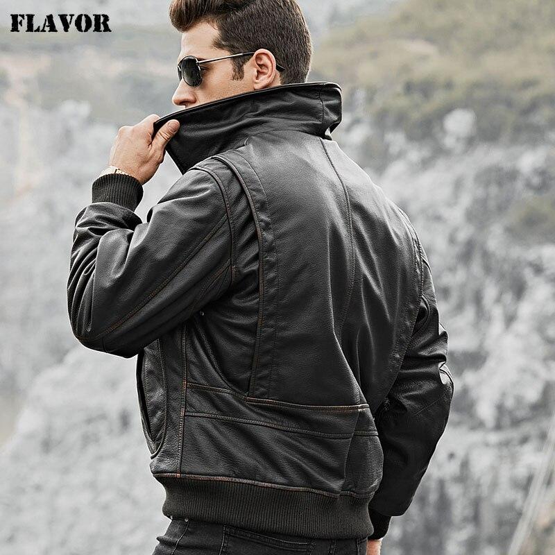 Veste aviateur en cuir de vachette véritable pour hommes veste en cuir de vachette véritable pour hommes-in Manteaux en cuir véritable from Vêtements homme    1