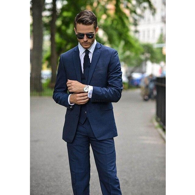 2017 Casual Classic Men Suits Dark Blue Slim Fit Men Suit Prom ...