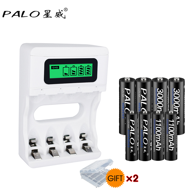 PAlO Trave USB Ladegerät Intelligente LCD Intelligente Akku-ladegerät ForNi-CdNi-Mh AA/AAA Batterie + 4 stücke AA + 4 pcsAAA Batterie