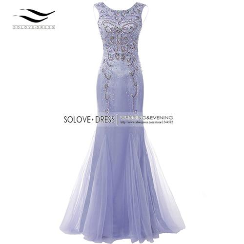 Элегантная ткань Накладка для кнопки рукав Кристалл бисером длинное платье выпускного вечера тюль русалка платье выпускного вечера Longo Vestido de festa(SLP-011 - Цвет: Light Purple