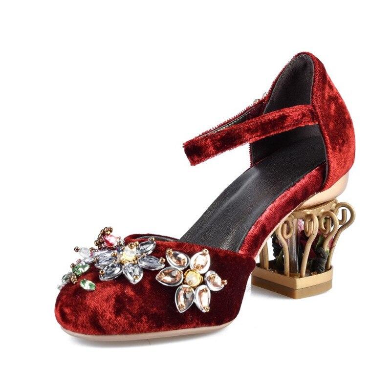 Qualité red Talons Haute Slip De Femmes Velours Chaussures Nouvelle Chaude Cristal Classiques Style Arrivée Blue Black on Stylesowner Beatuty Casual light wqzUvOW