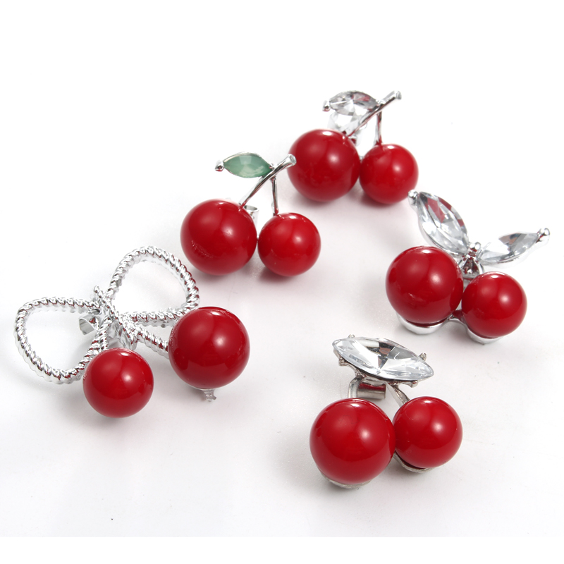 5pc Cute Red Cherry Charm Findings With Clip Hole Diy Personalized Bracelet Elastic Hair Band Bead Handmade Jewelry Findings Highly Polished Jewelry Findings & Components Beads & Jewelry Making