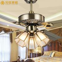 europe vintage mute led ceiling fan with light for living room bed room 48 inches 80W AC 80-265V 1048
