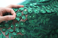 Embroidery floral 3d lace fabric dusty pink 2018 french net lace fabric green red bridal lace fabric for nigerian party dresses