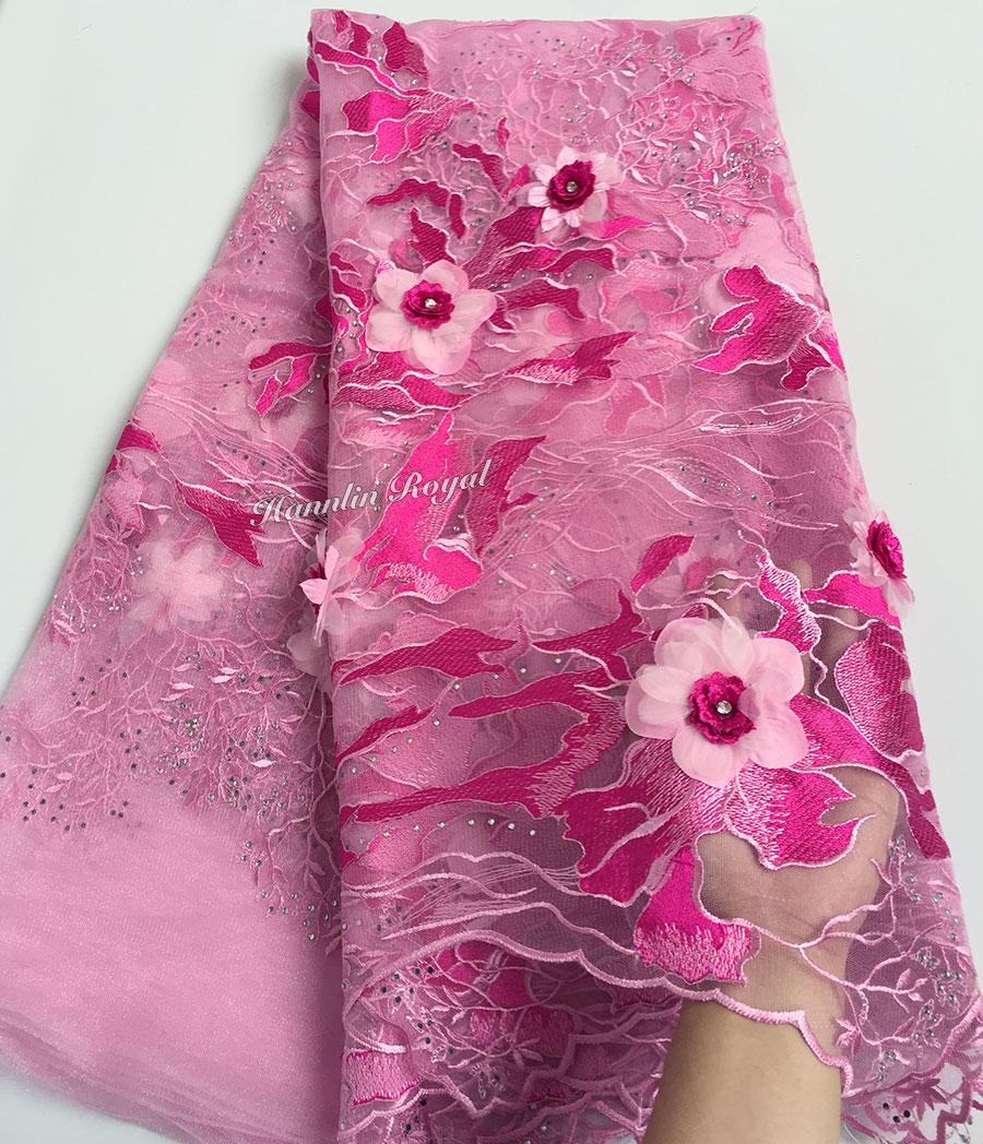 Gehobenen rosa französisch spitze tüll spitze Afrikanische mesh stoff mit Super big floral 3D appliques diamanten 5 yards pro stück-in Spitze aus Heim und Garten bei  Gruppe 1