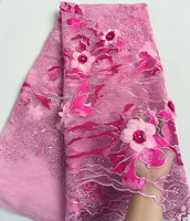 Upscale Dusty Pink French Lace Tulle Lace African Mesh Fabric With Super Big Floral 3D Appliques