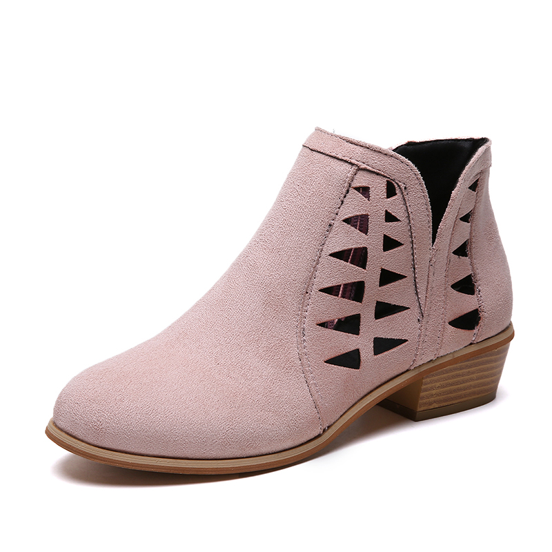 Rimocy 2019 spring hollow out single shoes woman faux suede round toe square heels pumps women 4cm med heels casual shoes femme 31
