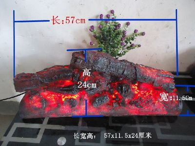 Rectangle Électrique cheminée simulation de charbon de bois faux bois de chauffage Feu tirer props musée salle KTV décorations art artisanat partie