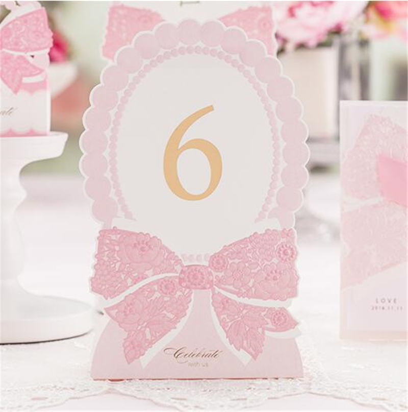 Romantic Pink Table Number Decoration Elegant Laser Paper Lover Flower Floral Festive Event Party Supplies Wedding Table Card