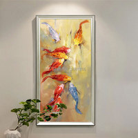 Top quality Hand painted yellow red Koi Carp Oil Painting on Canvas Chinese Fish picture handmade Fishes wall art gift