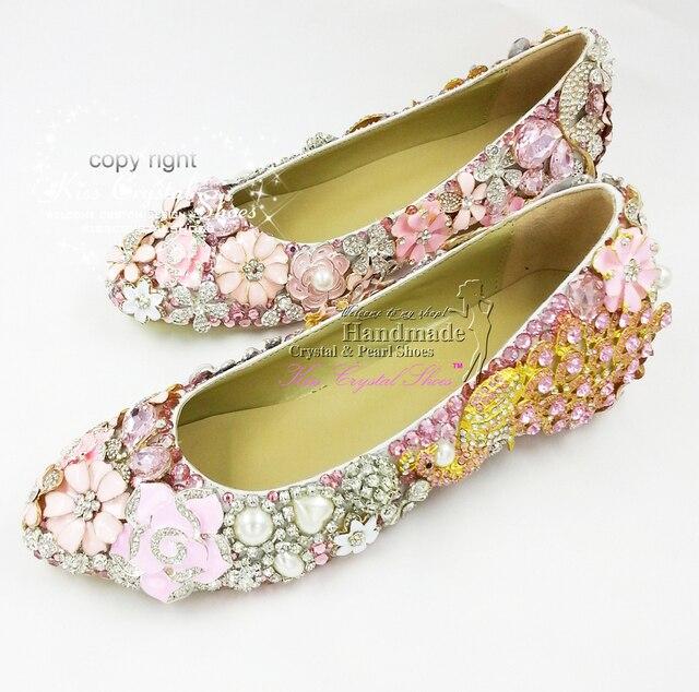 4c8f9b4558c0 Flat Shoes Women Wedding Shoes New Elegant Customized Handmade glitter Pink  Ballet Flat Bridal Shoes for Wedding Party