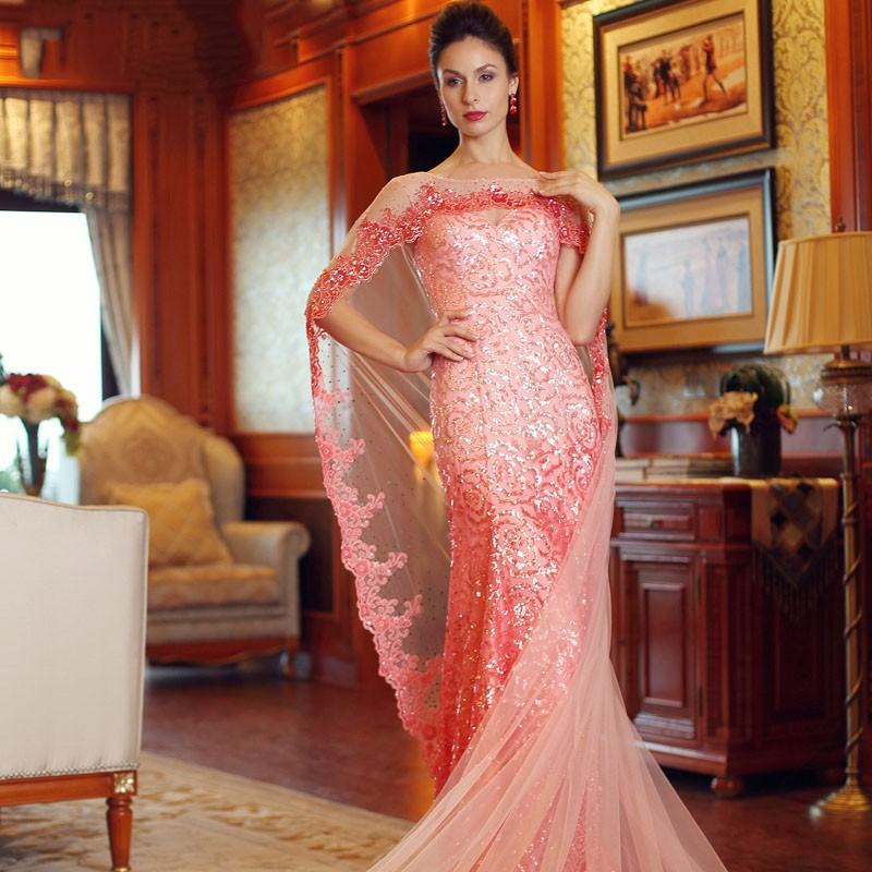 Peach Formal Dress Sequin With Shawl Mermaid Prom Evening Dresses ...