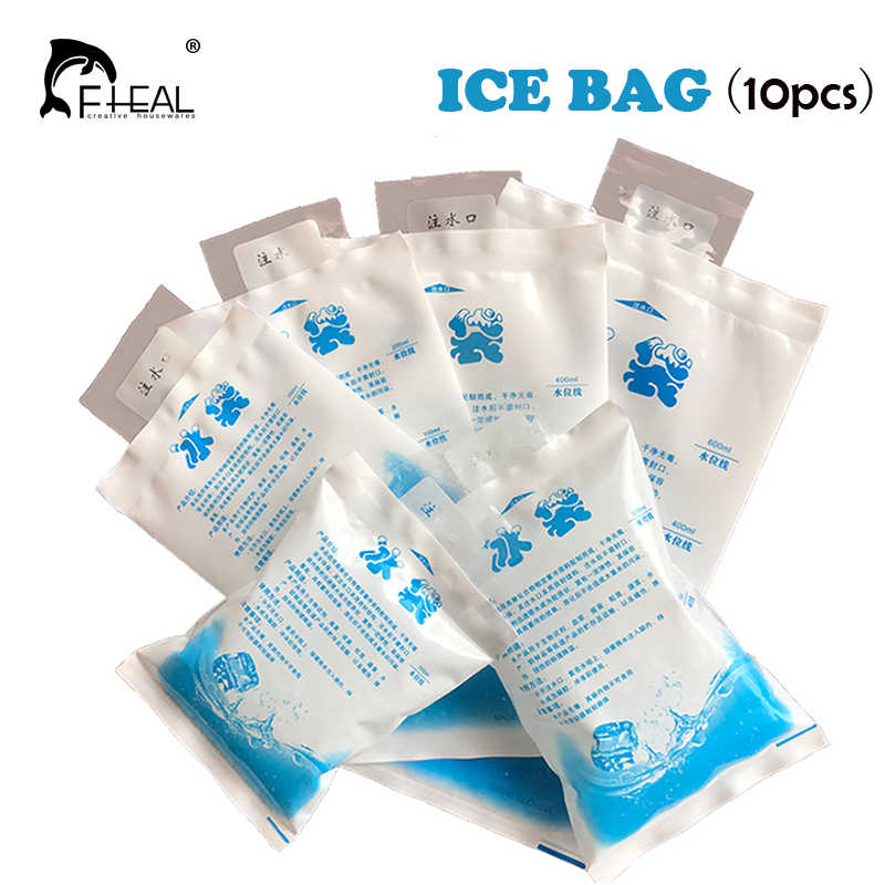 FHEAL 10pcs/set Insulated Reusable Dry Cold Ice Pack Gel Thicken Cooler Bag for Food Storage Fresh Food Cans Kitchen Accessories