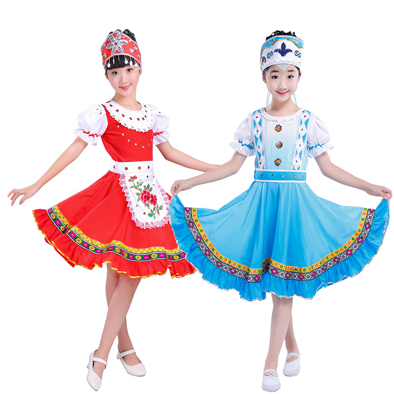 Children Russia National Performance Clothing Modern Stage Show Costumes Girl Princess Skirt Party Dance Dress