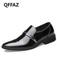 QFFAZ New Men Shoes Luxury Brand Slip On Oxford Shoes For Men Pointed Toe Dress Shoes
