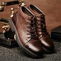 Top Cordón Militar Warm Nieve de la Piel de Cuero Genuino Botines Casuales Para Hombre Zapatos de Invierno Oficina Oxford