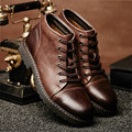 Top Genuine Leather Lace Up Military Warm Fur Snow Ankle Boots Mens Casual Office Winter Shoes Oxford