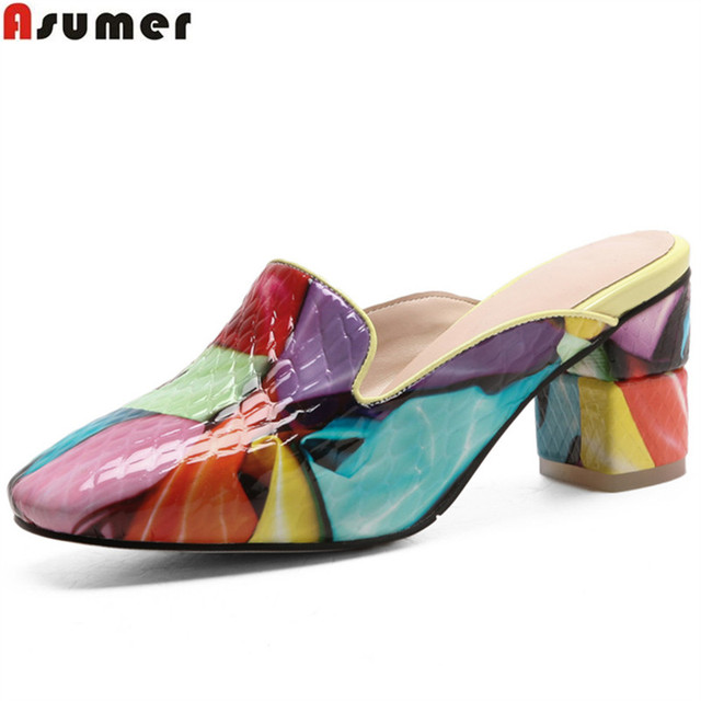 ASUMER fashion colours square toe shallow casual women mules shoes square heel women slippers genuine leather shoes