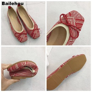 Image 5 - Women Flats Ballet Shoes Breathable Knitted Square Toe Moccasin Mixed Color Flat Ballerina Shallow Butterfly knot Colorful Shoes