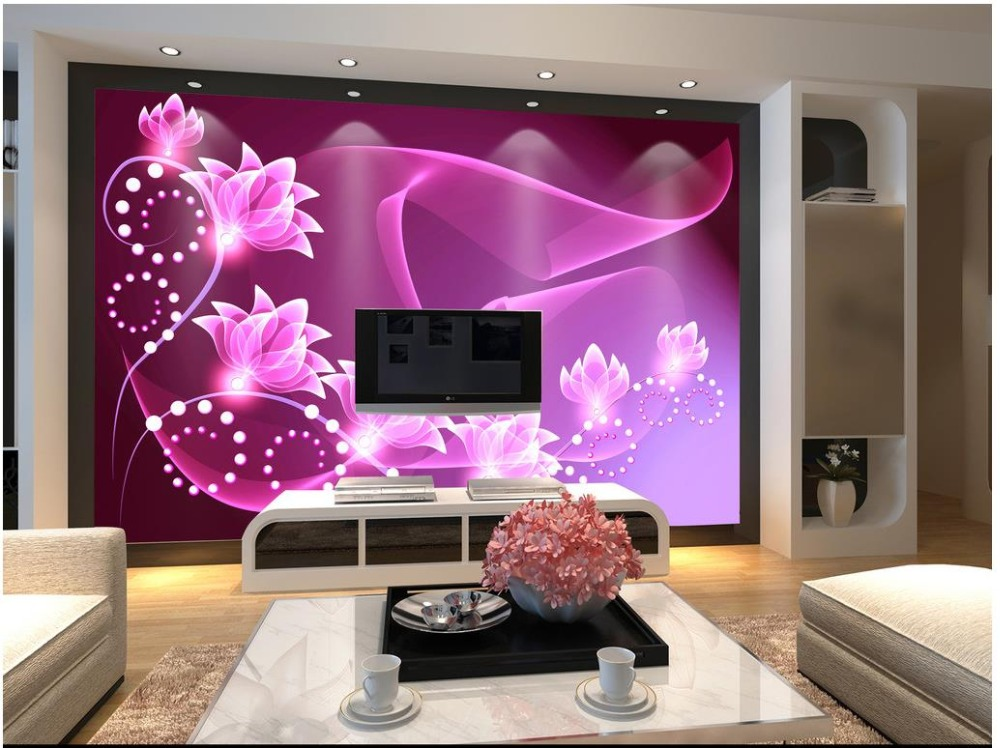 Custom 3d Photo Wallpaper 3d Wall Murals Wallpaper Dreamy Purple Flower Wall  Painting In The Background 3d Wallpaper Living Room In Wallpapers From Home  ... Part 36