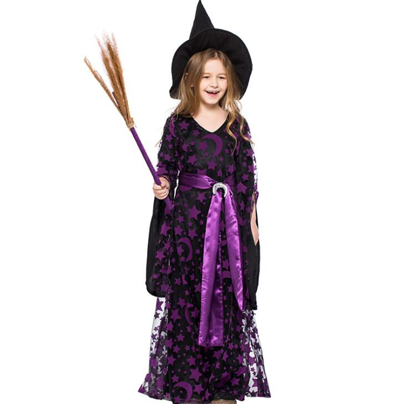 Deluxe Children Girls Purple Moon Witch Halloween Costume Cosplay