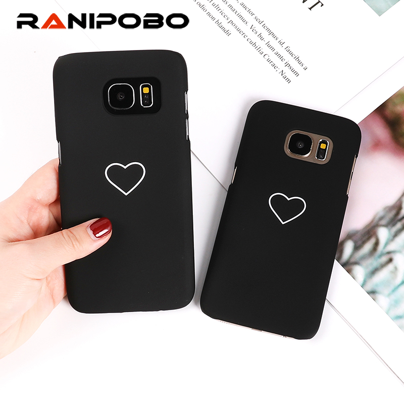 Luxury Love Heart Painted Phone Case For Samsung Galaxy S9 S8 S7 S6 edge Couples Case Hard PC Pink Back Cover Cases Couque Gift