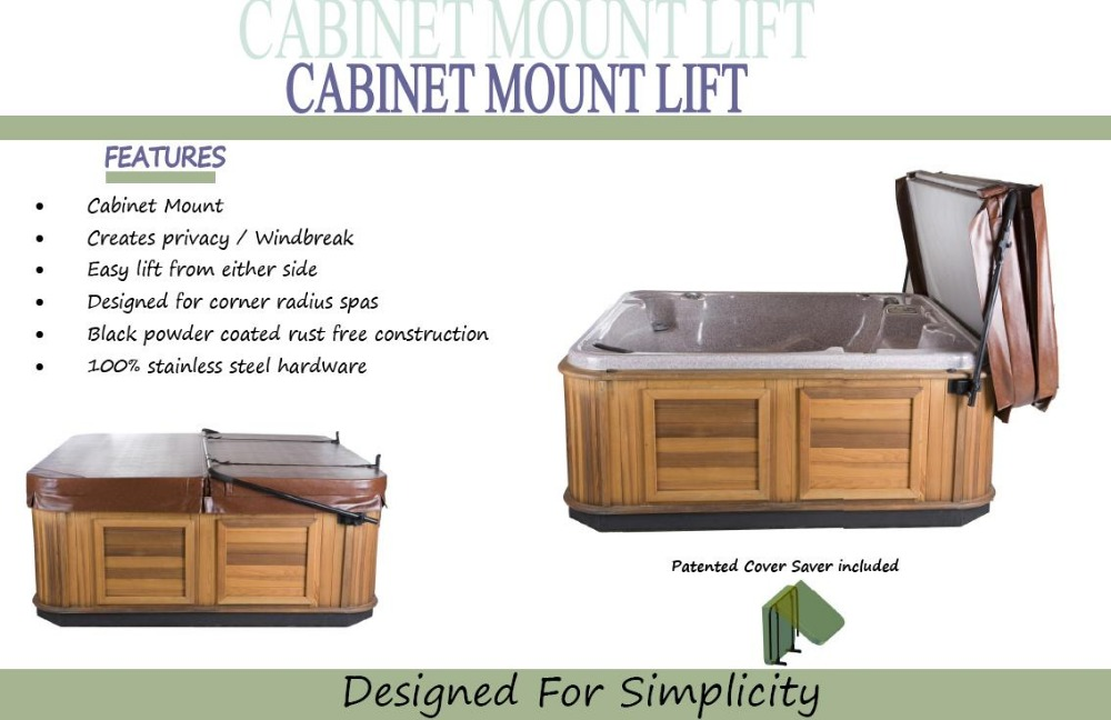 Suggested HOT TUB SPA COVER LIFTER Powder Coated Cabinet Mounted inc. Patented Cover Saver,Swim Spa Cover Easy Lifter hot tub cover guard