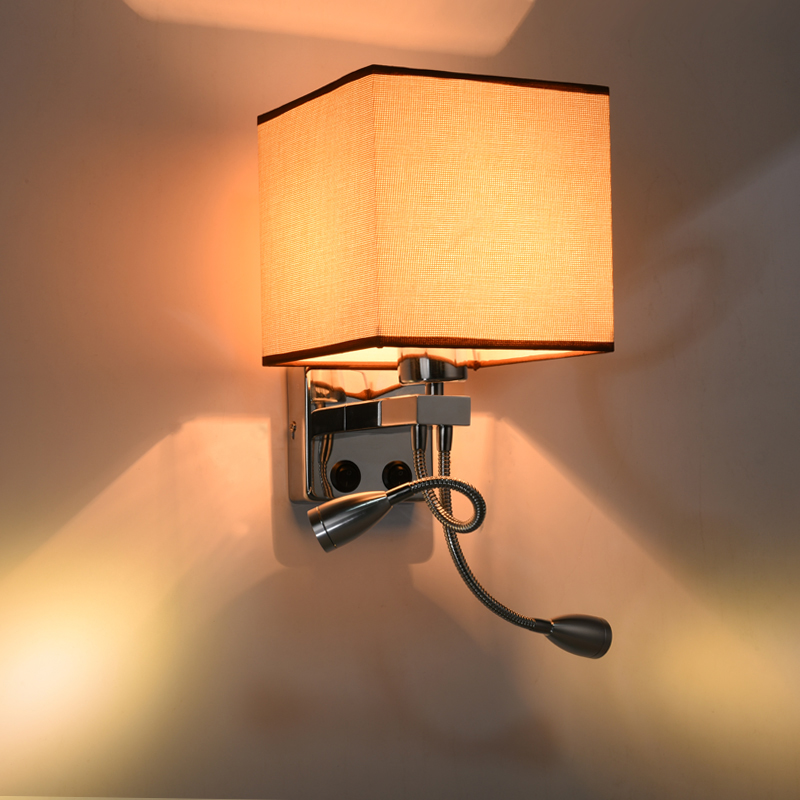 Modern wall sconce with switch wall bed lamps 1 or 2 pcs 1w led reading light hose rocker arm Reading lighting fabric lampshade crystal bedside wall lamp 3w led reading light lamp plumbing hose rocker swing arm bedroom wall lighting fabric lampshade wwl102