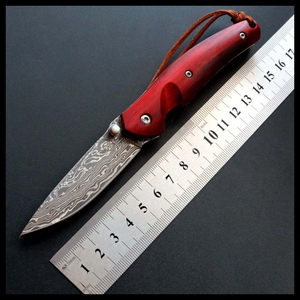 BJL Hot main article couteau pliant manche en bois damas acier extérieur Camping couteaux EDC outil survie tactique couteaux EF82