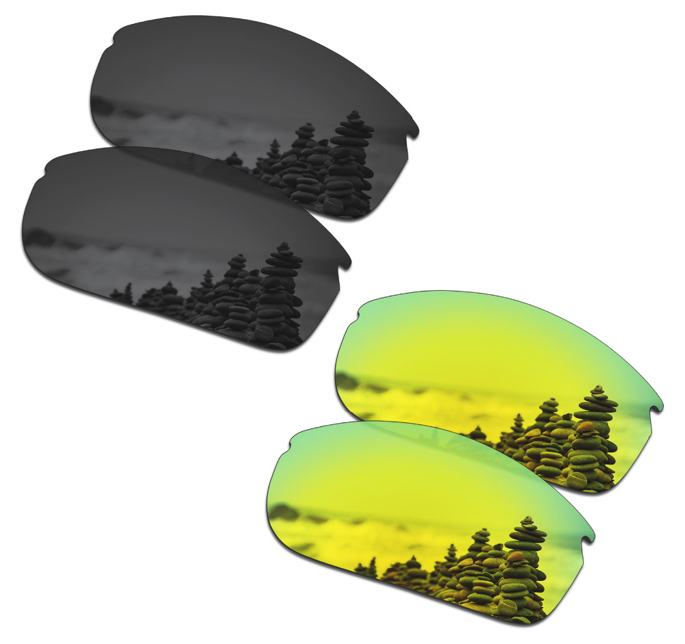 SmartVLT 2 Pairs Polarized Sunglasses Replacement Lenses for Oakley Commit SQ Stealth Black and 24K Gold