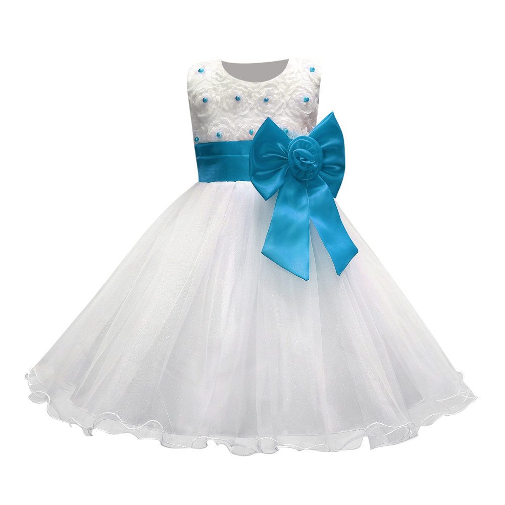 Pearl 3d Flower Roses Pattern Wedding Dresses for Kids White and Blue Sleeveless 1 To 10 Years Girls Party Dress with Sashes sirdar bonus aran children cardigans pattern 2126 1 to 12 years pattern