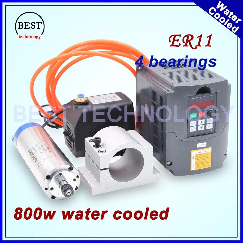 Broche refroidie à l'eau kit 800 w broche de refroidissement par eau 4 roulements 65mm diamètre 0.8kw broche & 1.5kw onduleur/ VFD & 75 w pompe à eau